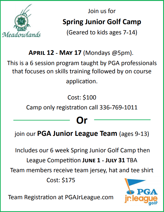 Spring Junior Golf Camp Flyer 2021